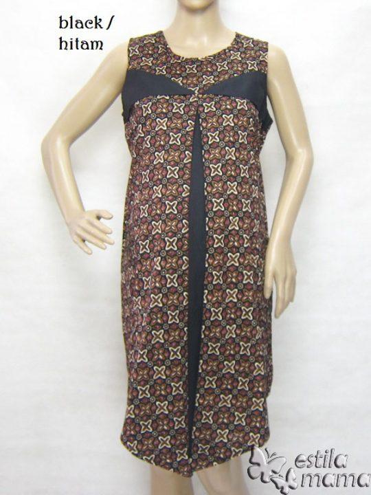 R3319 gb5 dress hamil menyusui tnp lgn hitam