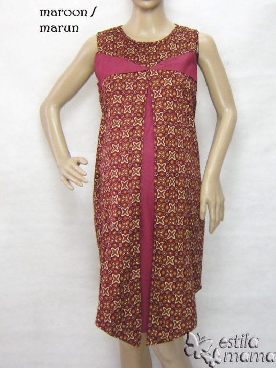R3319 gb7 dress hamil menyusui tnp lgn marun