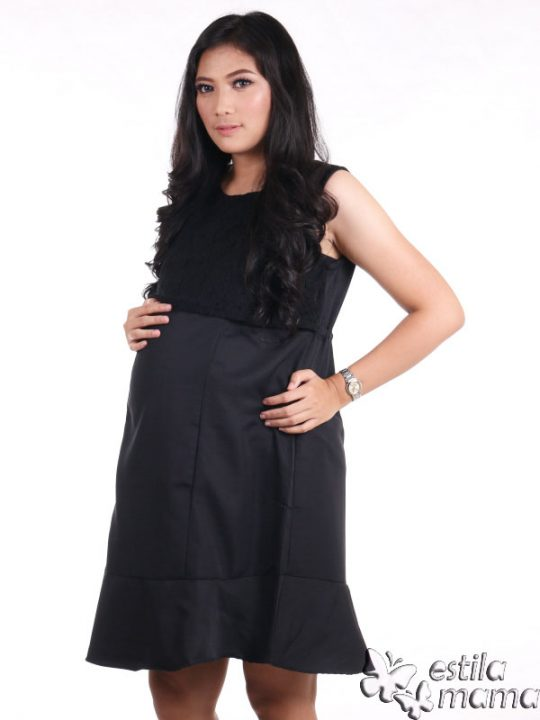 R3320 gb2 dress hamil menyusui tnp lgn hitam