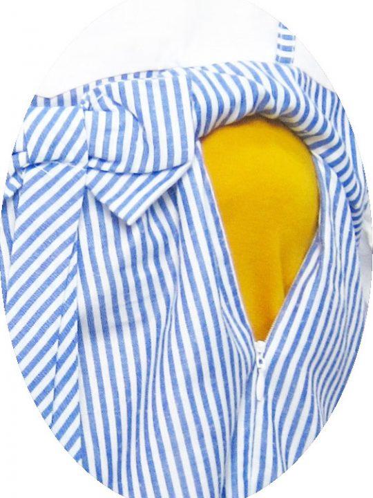 R34225 gb2b dress hamil menyusui lgn pdk salur biru