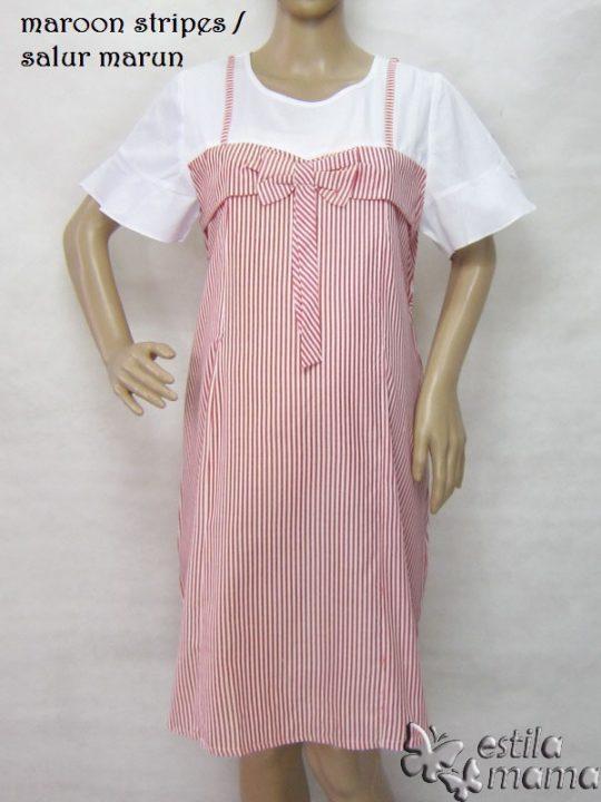 R34225 gb6 dress hamil menyusui lgn pdk salur marun