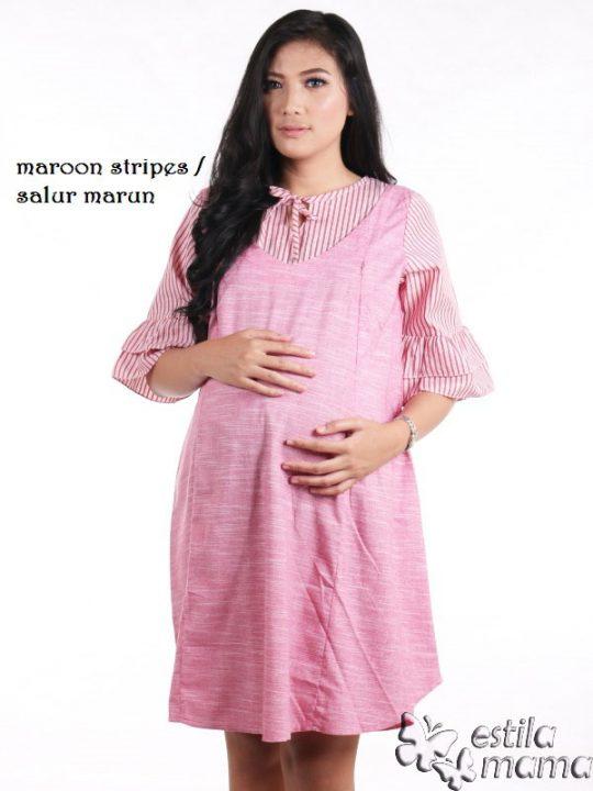 R34226 gb1 dress hamil menyusui lgn pdk salur marun