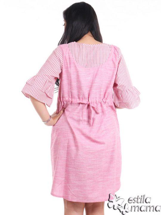R34226 gb4 dress hamil menyusui lgn pdk salur marun