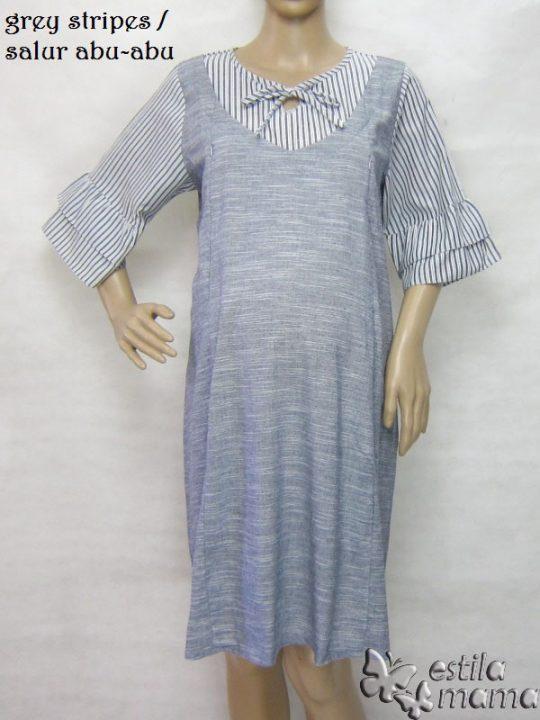 R34226 gb5 dress hamil menyusui lgn pdk salur abu