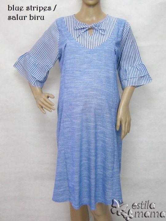 R34226 gb6 dress hamil menyusui lgn pdk salur biru