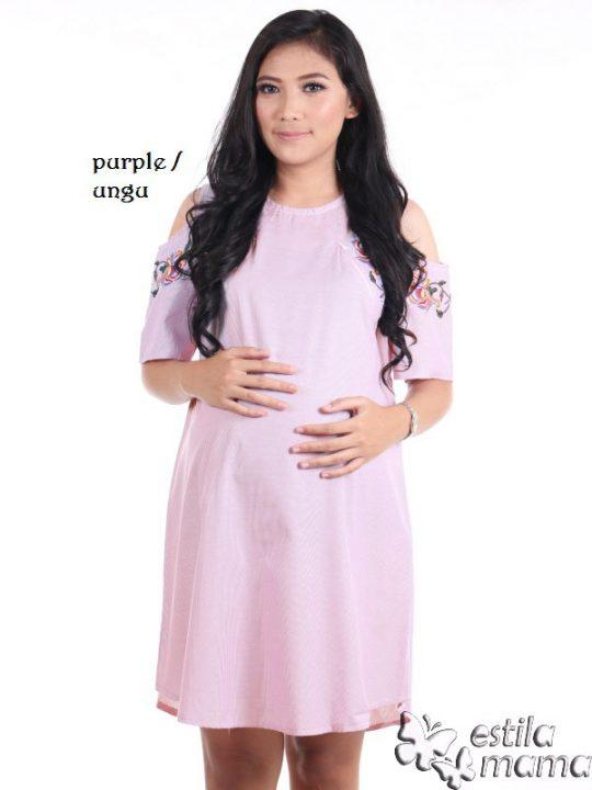R34227 gb1 dress hamil menyusui lgn pdk salur ungu