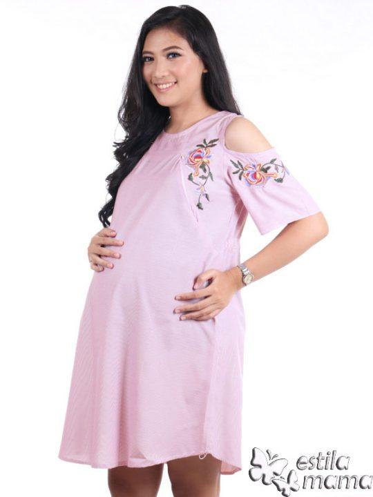 R34227 gb2 dress hamil menyusui lgn pdk salur ungu