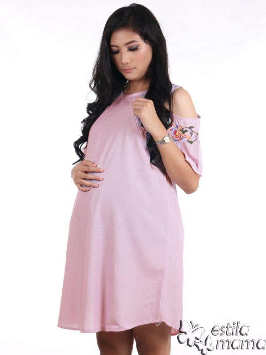 R34227 gb3 dress hamil menyusui lgn pdk salur ungu