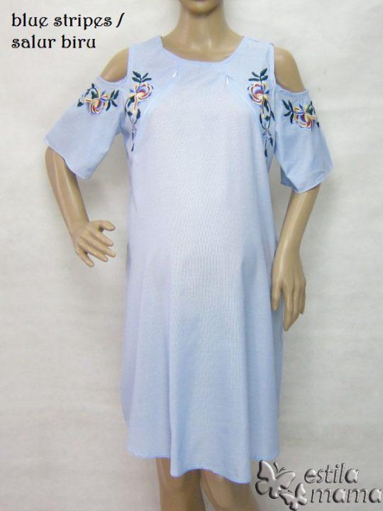 R34227 gb7 dress hamil menyusui lgn pdk salur biru