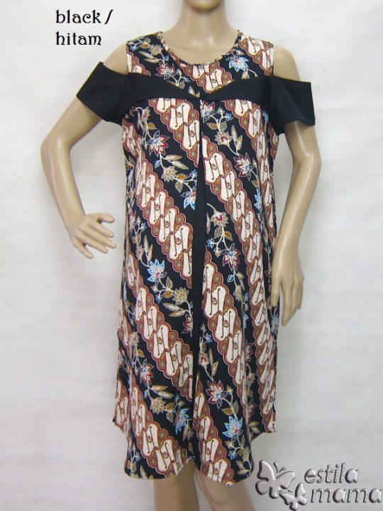 R34228 gb5 dress hamil menyusui lgn pdk hitam