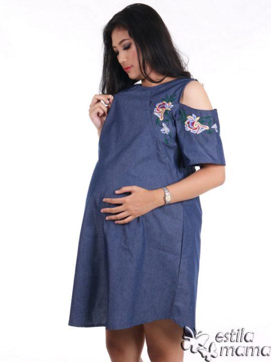 R34229 gb3 dress hamil menyusui lgn pdk biru
