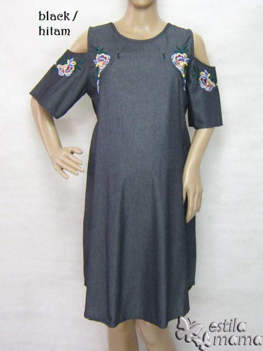 R34229 gb5 dress hamil menyusui lgn pdk hitam