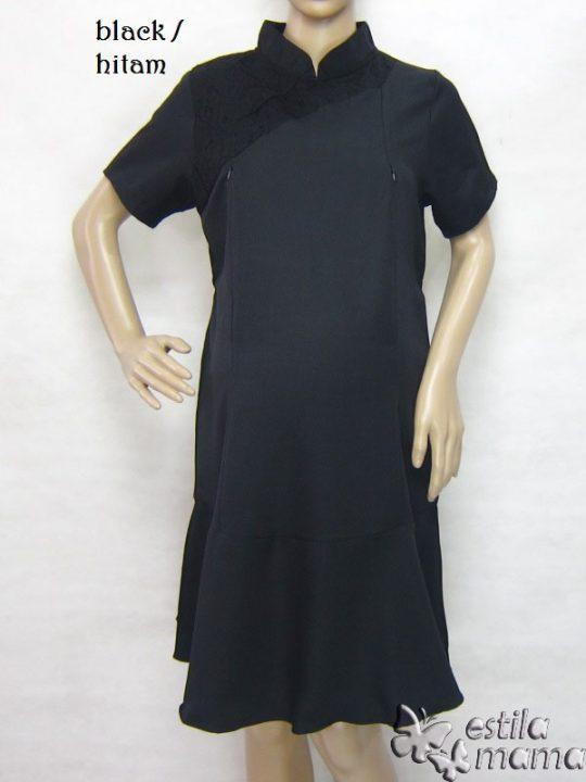 R34231 gb1 dress hamil menyusui lgn pdk hitam