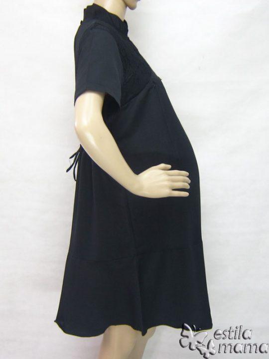 R34231 gb3 dress hamil menyusui lgn pdk hitam