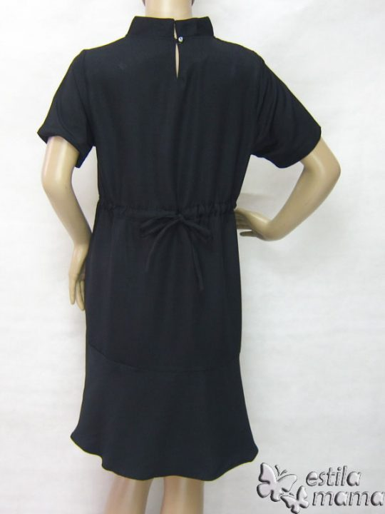 R34231 gb4 dress hamil menyusui lgn pdk hitam