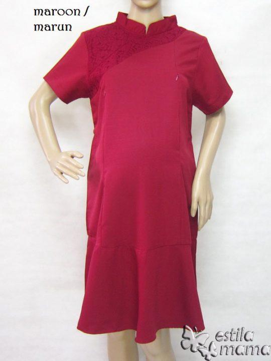 R34231 gb5 dress hamil menyusui lgn pdk marun