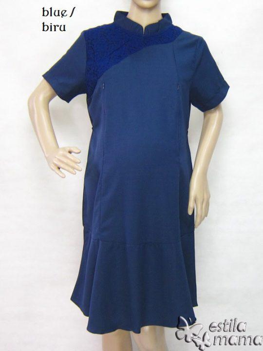 R34231 gb6 dress hamil menyusui lgn pdk biru