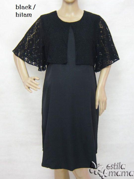 R34233 gb1 dress hamil menyusui lgn pdk hitam