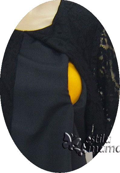 R34233 gb2 dress hamil menyusui lgn pdk hitam