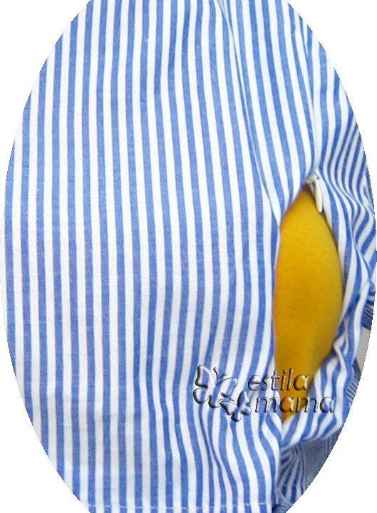 R34234 gb2 dress hamil menyusui lgn pdk biru
