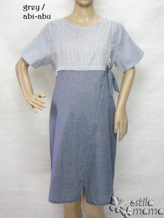 R34234 gb5 dress hamil menyusui lgn pdk abu-abu