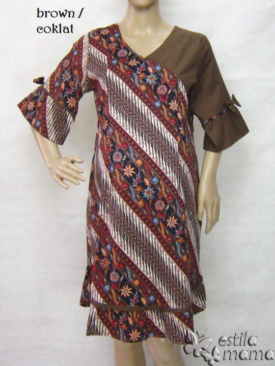 R34235 gb5 dress hamil menyusui lgn pdk coklat