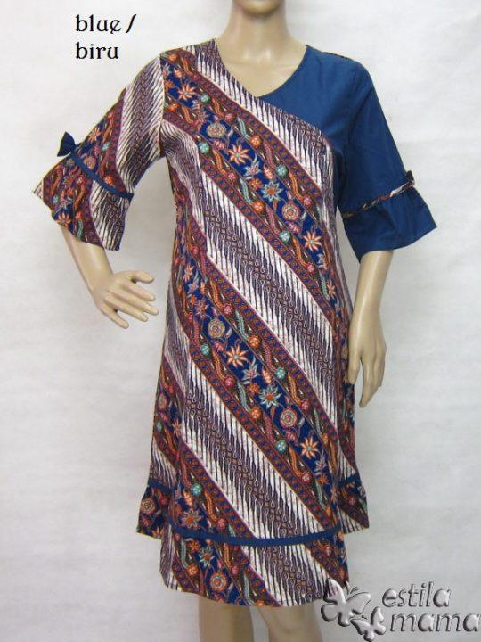 R34235 gb7 dress hamil menyusui lgn pdk biru