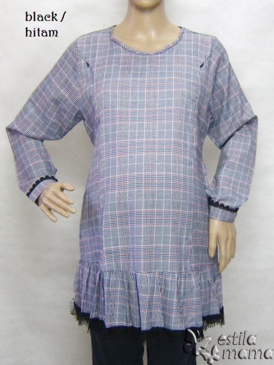 R25164 gb1 baju hamil menyusui lgn pjg hitam
