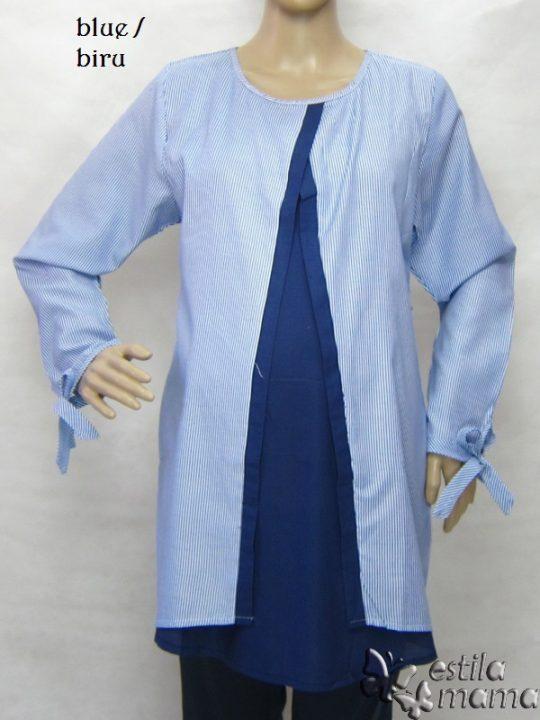 R25165 gb1 baju hamil menyusui lgn pjg biru