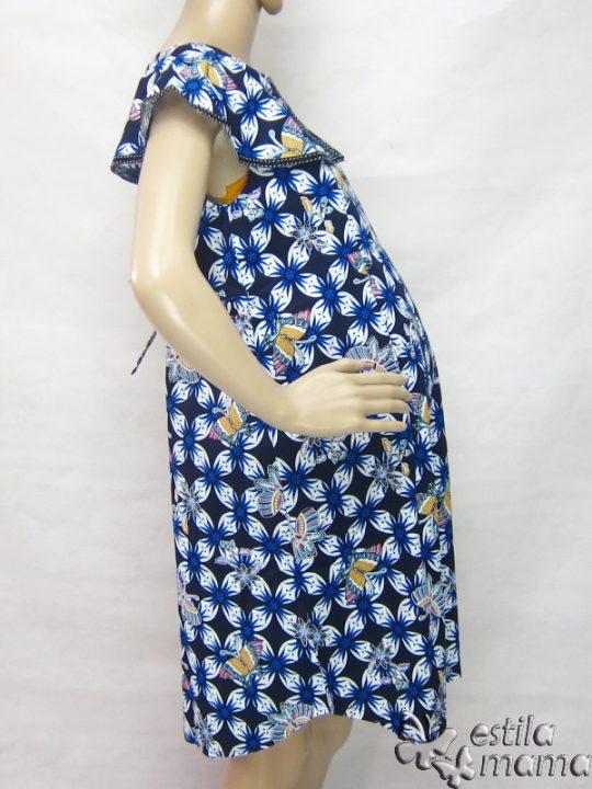 R34242 gb3 dress hamil menyusui lgn pdk biru