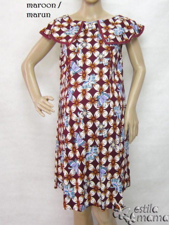 R34242 gb5 dress hamil menyusui lgn pdk marun