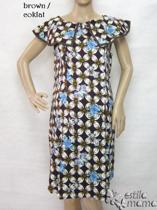 R34242 gb6 dress hamil menyusui lgn pdk coklat