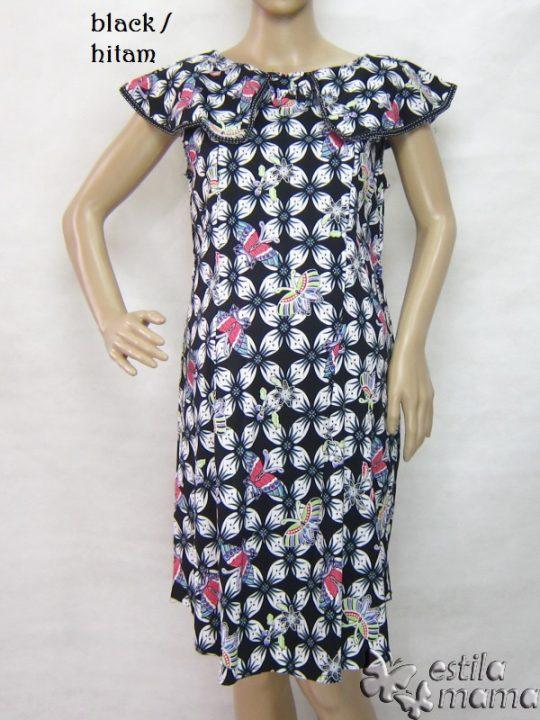 R34242 gb7 dress hamil menyusui lgn pdk hitam