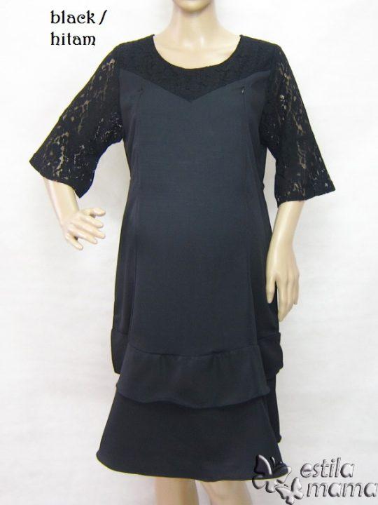R34244 gb1 dress hamil menyusui lgn pdk hitam