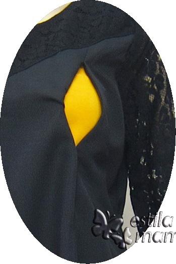 R34244 gb2 dress hamil menyusui lgn pdk hitam