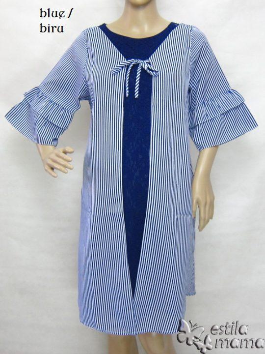 R34246 gb1 dress hamil menyusui lgn pdk biru