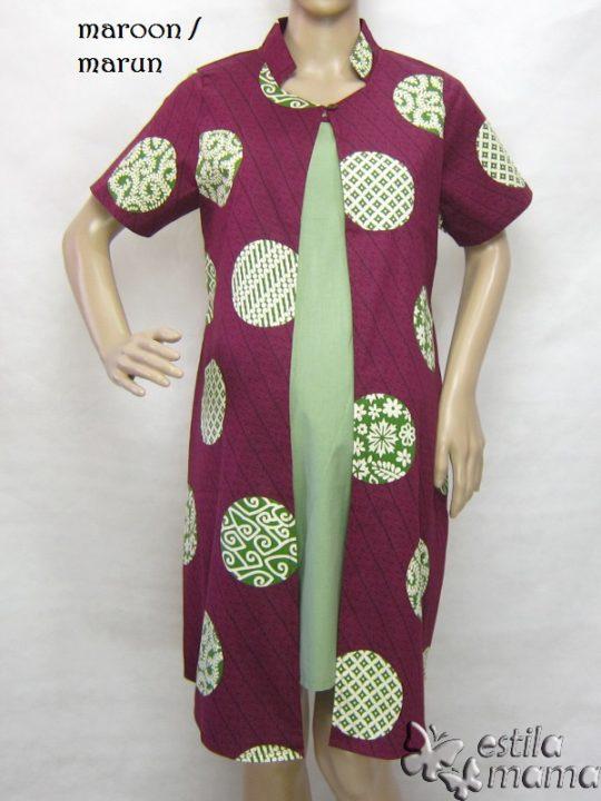 R34249 gb6 dress hamil menyusui lgn pdk marun
