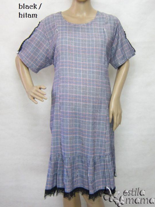 R34250 gb1 dress hamil menyusui lgn pdk hitam