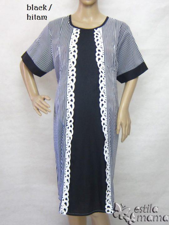R34251 gb1 dress hamil menyusui lgn pdk hitam