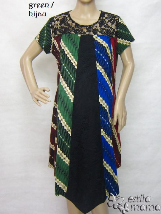 R34253 gb6 dress hamil menyusui lgn pdk hijau