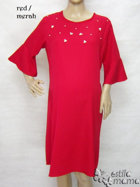 R34254 gb1 dress hamil menyusui lgn pdk merah
