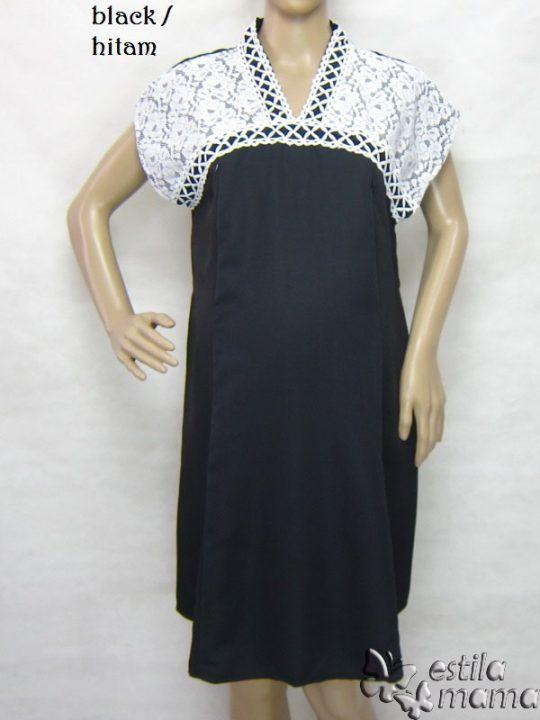 R34255 gb1 dress hamil menyusui lgn pdk hitam