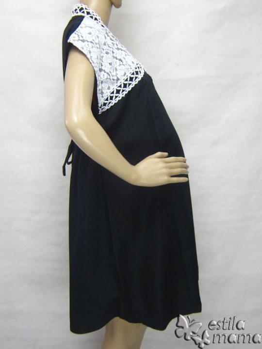 R34255 gb3 dress hamil menyusui lgn pdk hitam