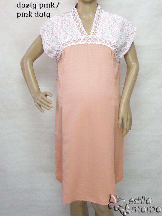 R34255 gb5 dress hamil menyusui lgn pdk pink dusty
