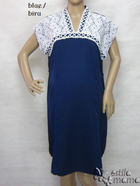 R34255 gb8 dress hamil menyusui lgn pdk biru