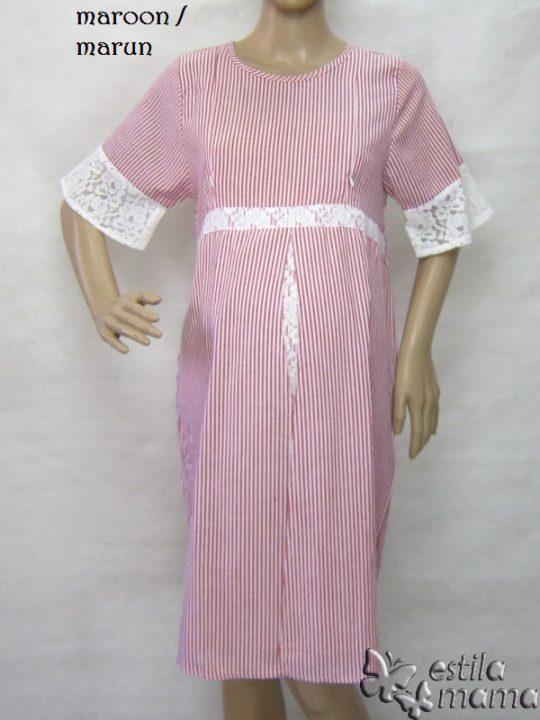R34259 gb6 dress hamil menyusui lgn pdk marun