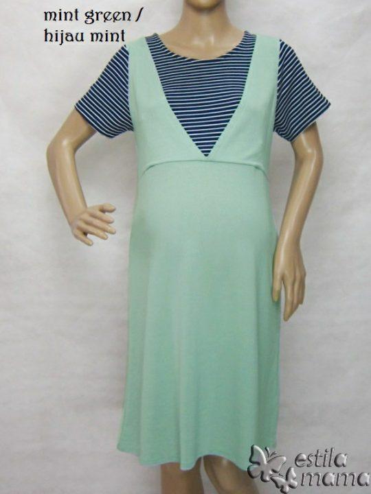 R34265 gb5 dress hamil menyusui lgn pdk hijau mint