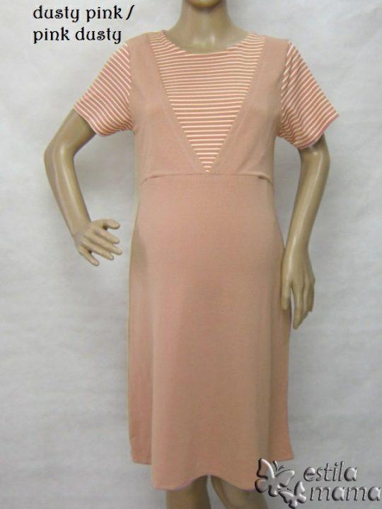 R34265 gb7 dress hamil menyusui lgn pdk pink dusty