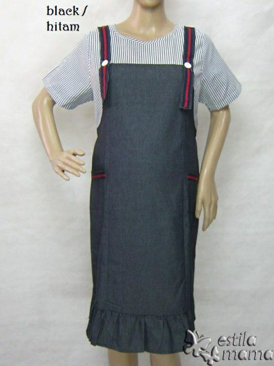 R34268 gb5 dress hamil menyusui lgn pdk hitam
