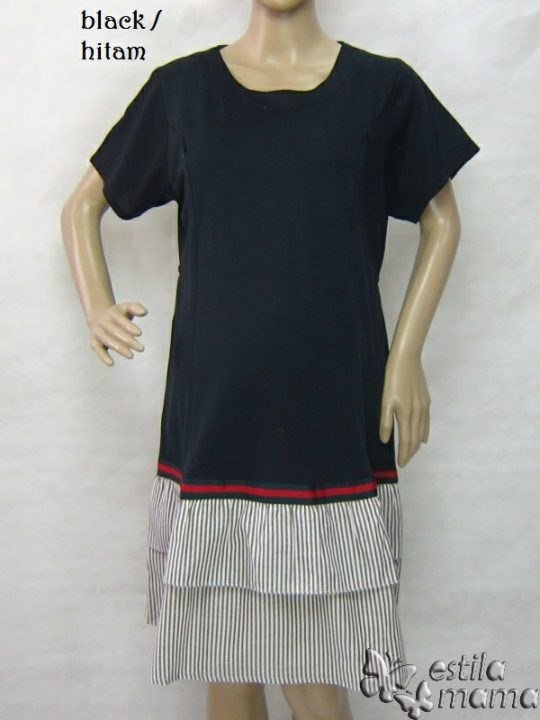 R34269 gb5 dress hamil menyusui lgn pdk hitam